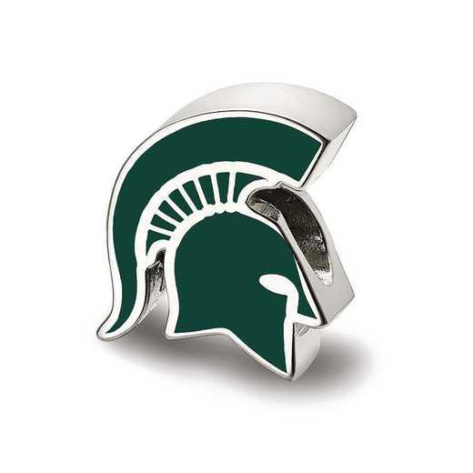 SS500MIS: SS Logoart Michigan St. U Spartan Head Logo Reflection Beads