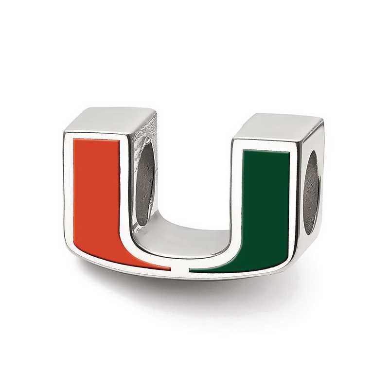 SS500UMF: SS Logoart Univ Of Miami U Enameled Logo Reflection Beads