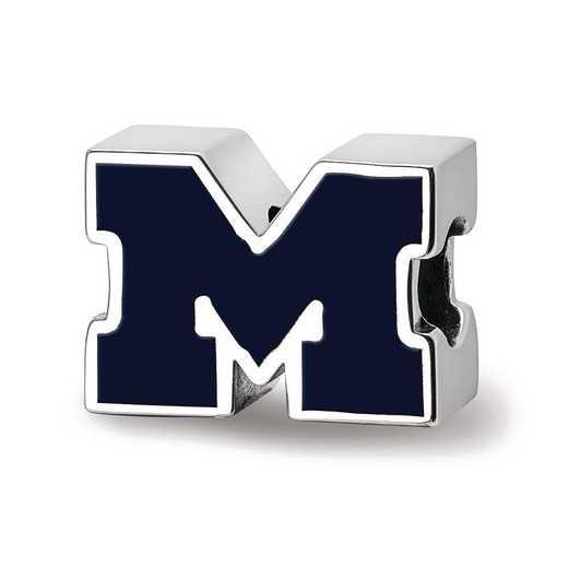 SS500UM: SS U Of Michigan Block M Enameled 1-Sided Reflection Beads
