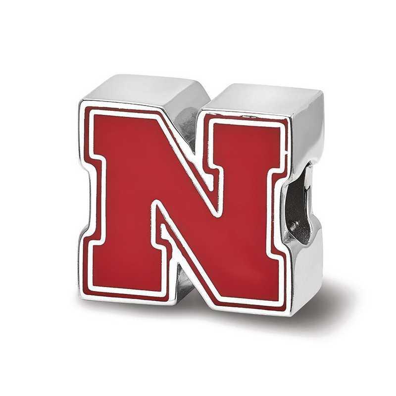 SS500UNE: SS University Of Nebraska N Enameled Reflection Beads