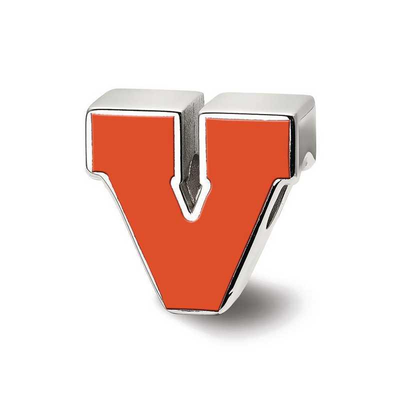 SS500UVA: SS Logoart U Of Virginia Block V Logo Reflection Beads