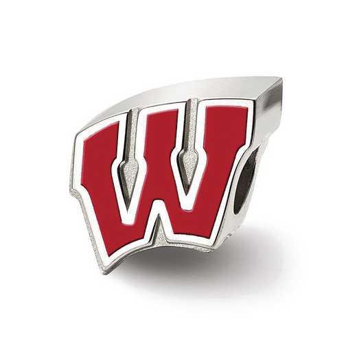 SS500UWI: SS Logoart U Of Wisconsin W Enameled Logo Reflection Beads