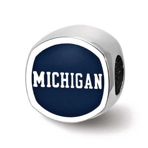 SS501UM: SS Univ Of Michigan Cushion Shaped Enameled Reflection Beads