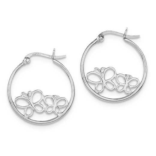 QE8807: 925 Rhodium Plated 2-Butterfly Hoop Earrings