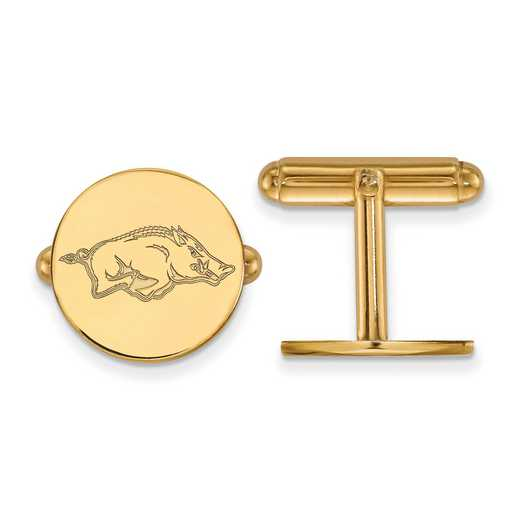 GP011UAR: LogoArt NCAA Cufflinks - Arkansas - Yellow