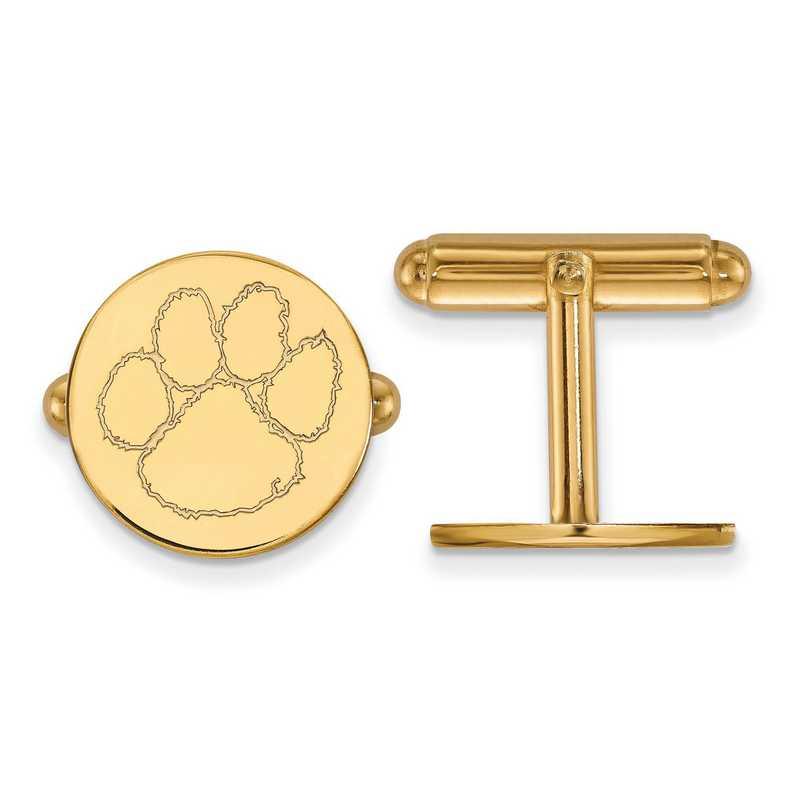GP012CU: LogoArt NCAA Cufflinks - Clemson - Yellow