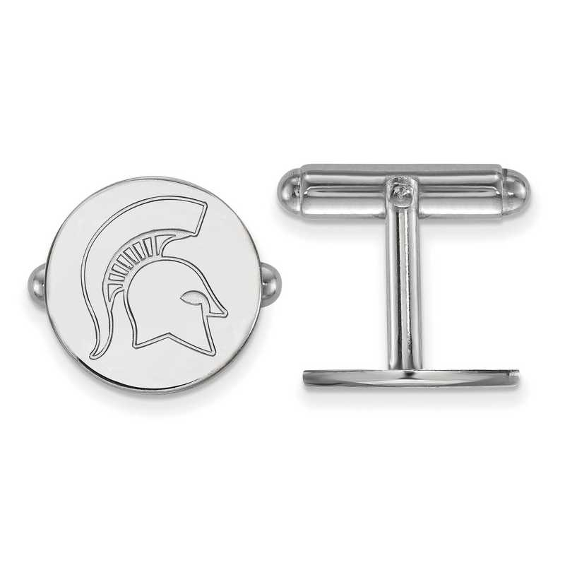 SS053MIS: LogoArt NCAA Cufflinks - Michigan State - White