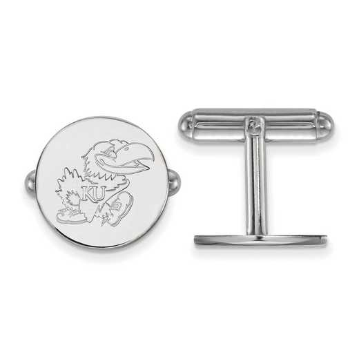 SS071UKS: LogoArt NCAA Cufflinks - Kansas - White
