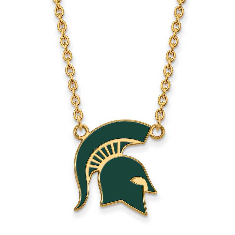 GP076MIS-18: LogoArt NCAA Enamel Pendant - Michigan State - Yellow