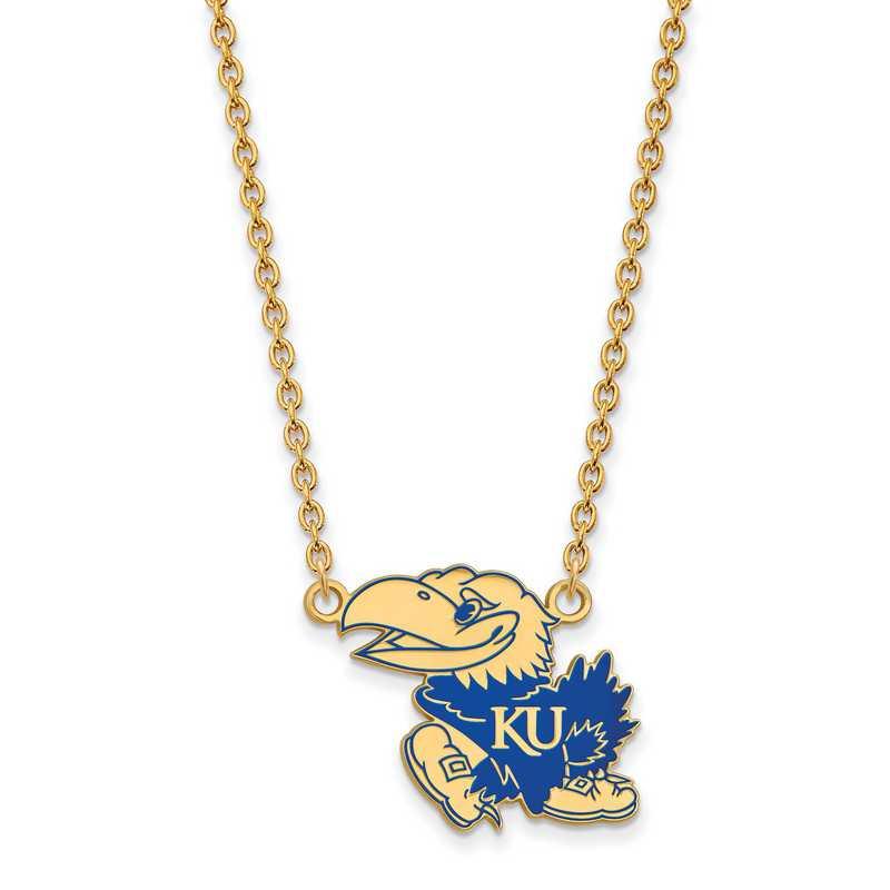 GP078UKS-18: LogoArt NCAA Enamel Pendant - Kansas - Yellow