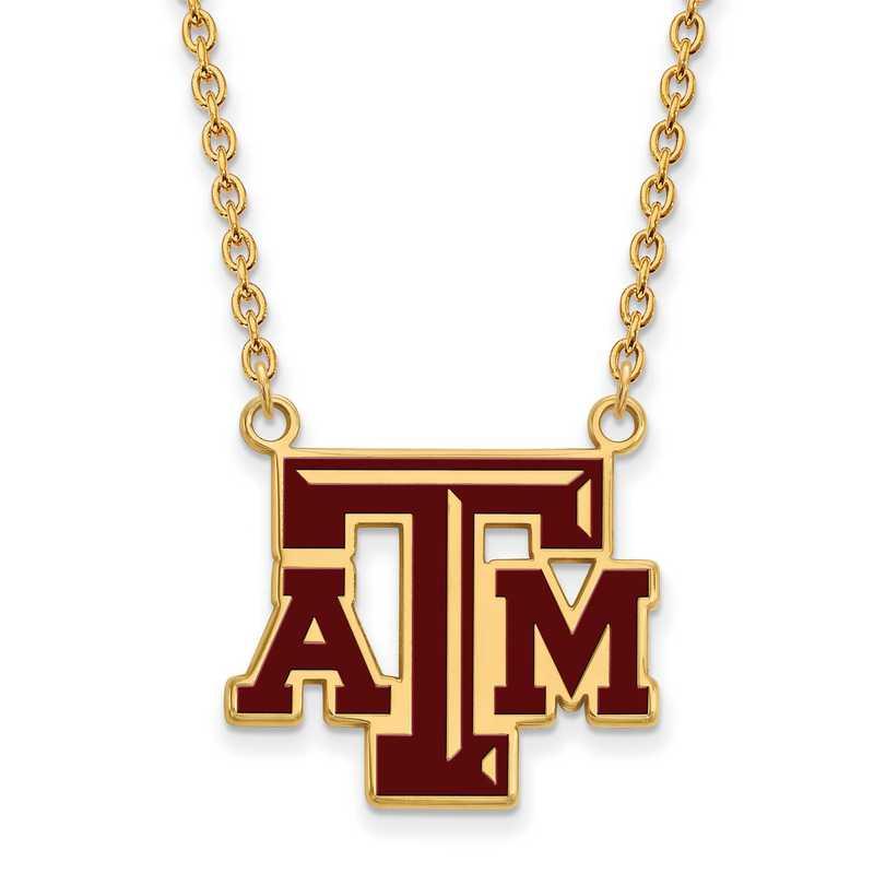 GP080TAM-18: LogoArt NCAA Enamel Pendant - Texas A&M - Yellow