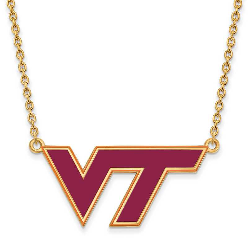 GP080VTE-18: LogoArt NCAA Enamel Pendant - Virginia Tech - Yellow