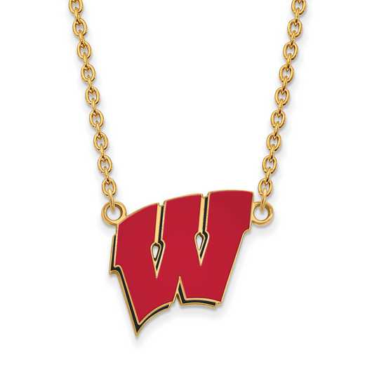 GP094UWI-18: LogoArt NCAA Enamel Pendant - Wisconsin - Yellow