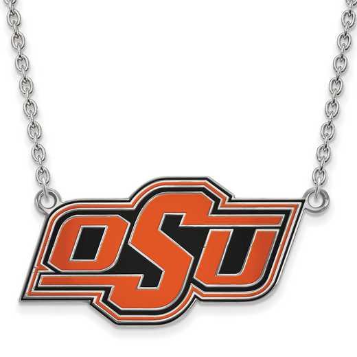 SS065OKS-18: LogoArt NCAA Enamel Pendant - Oklahoma State - White