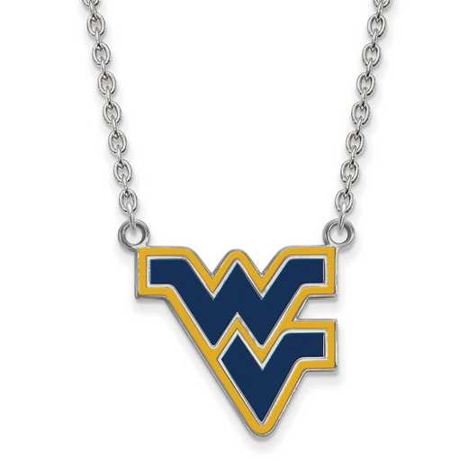 SS071WVU-18: LogoArt NCAA Enamel Pendant - West Virginia - White