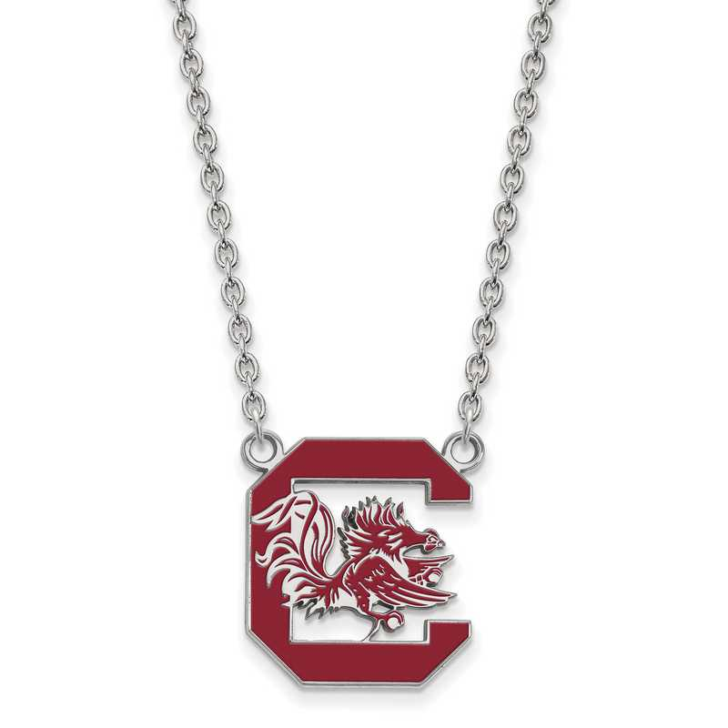 SS072USO-18: LogoArt NCAA Enamel Pendant - South Carolina - White