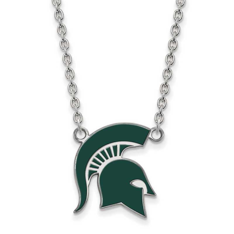 SS076MIS-18: LogoArt NCAA Enamel Pendant - Michigan State - White