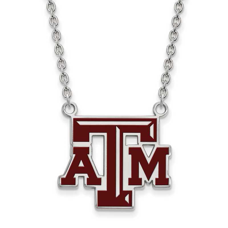 SS080TAM-18: LogoArt NCAA Enamel Pendant - Texas A&M - White