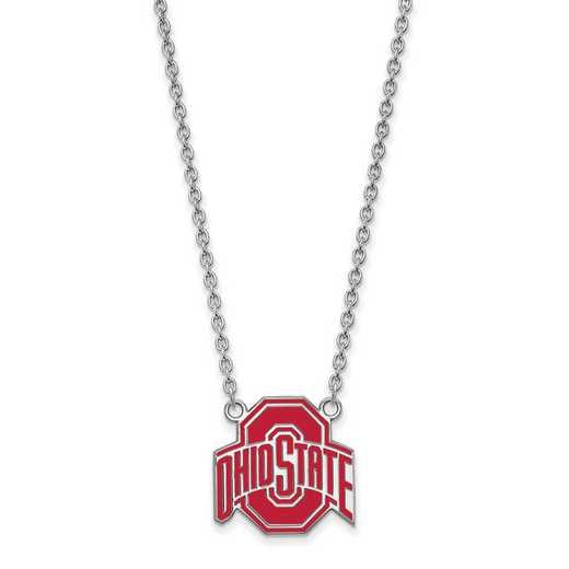 SS087OSU-18: LogoArt NCAA Enamel Pendant - Ohio State - White