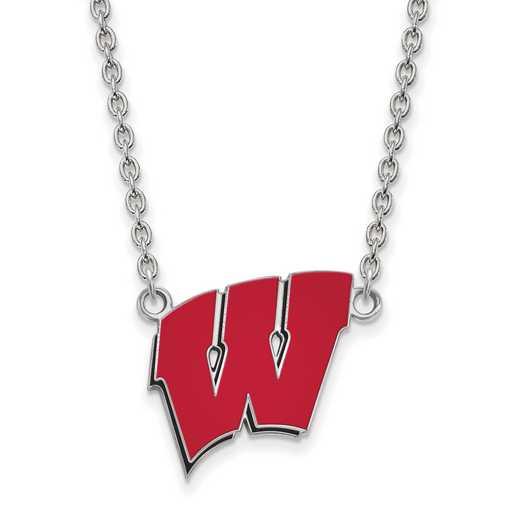 SS094UWI-18: LogoArt NCAA Enamel Pendant - Wisconsin - White