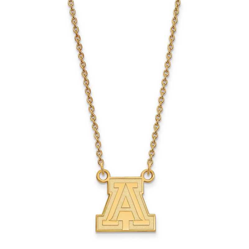 GP011UAZ-18: 925 YGFP LogoArt Univ of Arizona Pendant Necklace