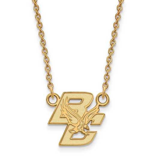 GP013BOC-18: 925 YGFP LogoArt Boston College Pendant Necklace