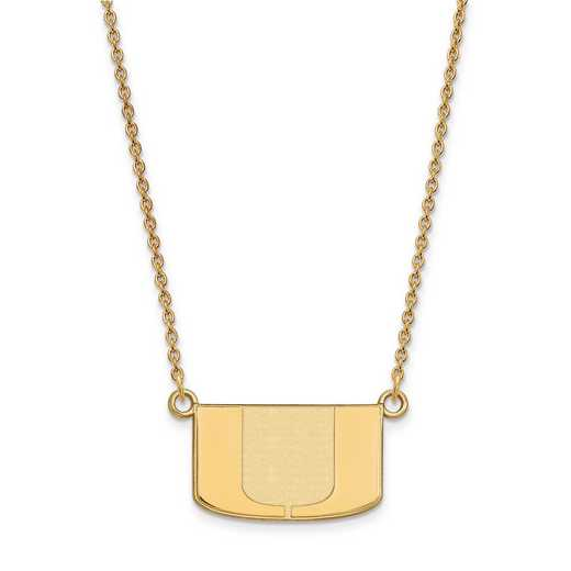 GP015UMF-18: 925 YGFP LogoArt Univ of Miami Pendant Necklace