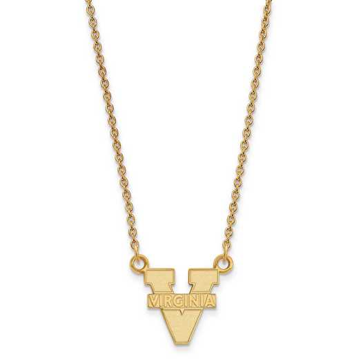 GP015UVA-18: 925 YGFP LogoArt Univ of Virginia Pendant Necklace