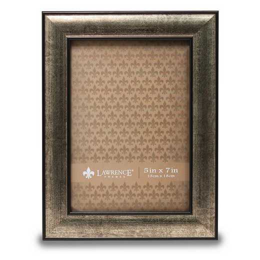 GM14183: 5x7 Domed Burnished Silver and Black Picture Frame