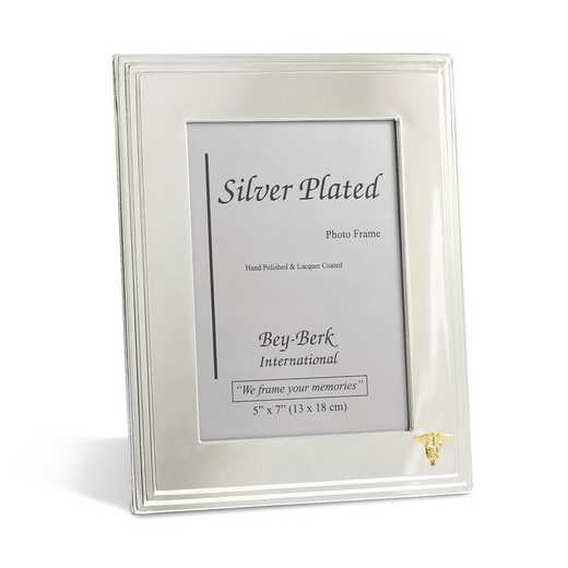 GM21472: Silver-plated 5x7 Frame with Nursing Emblem and Easel Back