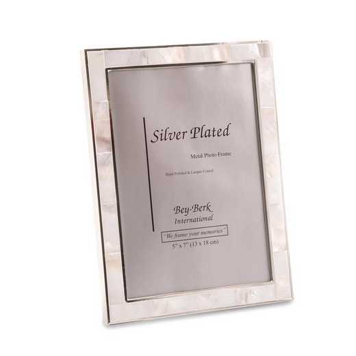 GM21560: Silver-plated Trim with Mother of Pearl 5x7 Picture Frame