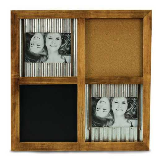 GM21612: Brown Wood 4x6 Wall Frame with Blackboard and Cork Board