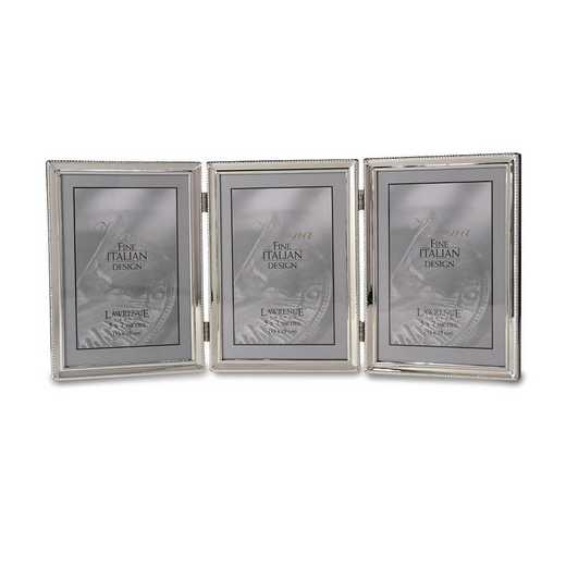 GM22288: Polished Silver-plated 5x7 Hinged Triple Frame - Bead Border Design