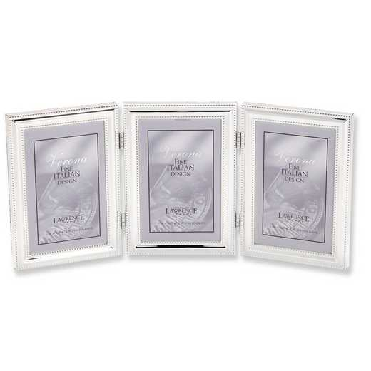 GP5952: Silver-plated Beaded Triple 5x7 Photo Frame