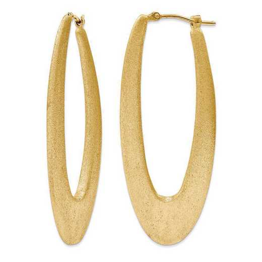 J290746240000: Sterling Silver 2in Elongated satin Hoops yllw gold plating