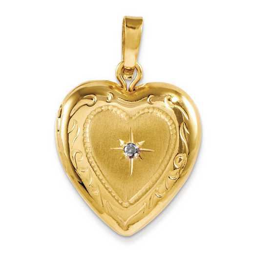 CBEL19428: 14KT Yellow Gold Polished 13mm Heart Locket Charm