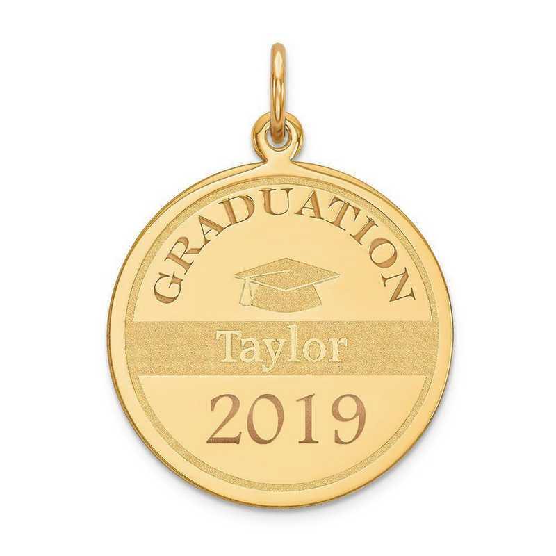 XNA363Y-PEN53-18: 14 Karat Yellow Gold Personalized Graduation Charm