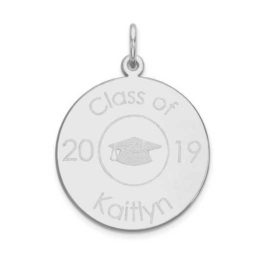 XNA365W-PEN74-18: 14 Karat White Gold Personalized Graduation Charm