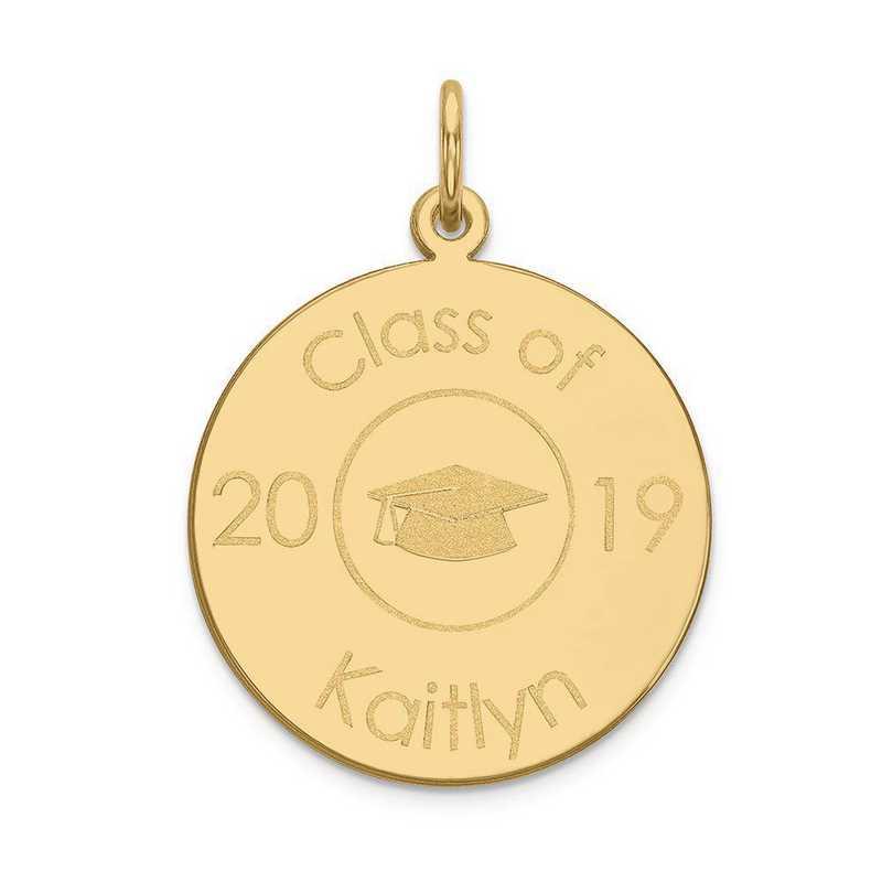 XNA365Y-PEN53-18: 14 Karat Yellow Gold Personalized Graduation Charm