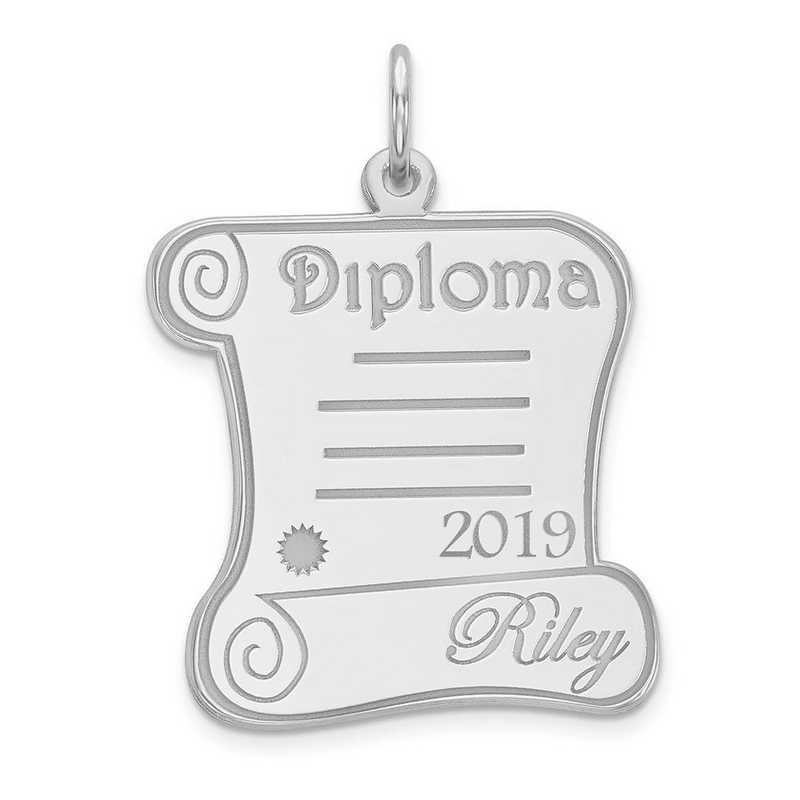 XNA370W-PEN74-18: 14 Karat White Gold Personalized Graduation Charm