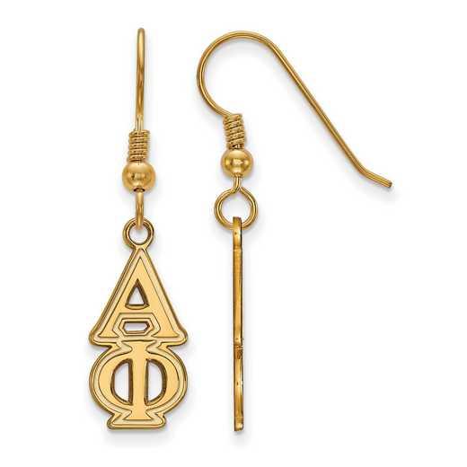GP004APH: Strlng Slvr with Gold Plating LogoArt Alpha Phi Dangle Med Erring