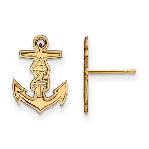 GP038ALS: Strlng Slvr with Gold Plating LogoArt Alpha Sigma Tau XS Post Erring