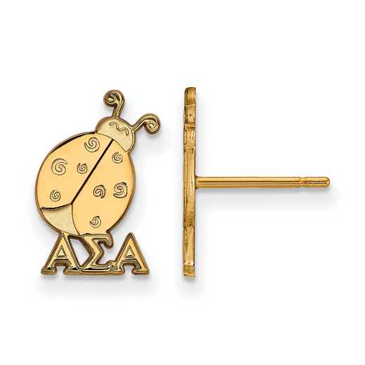 GP038ASI: Strlng Slvr with Gold Plating LogoArt Alpha Sigma Alpha XS Post Erring