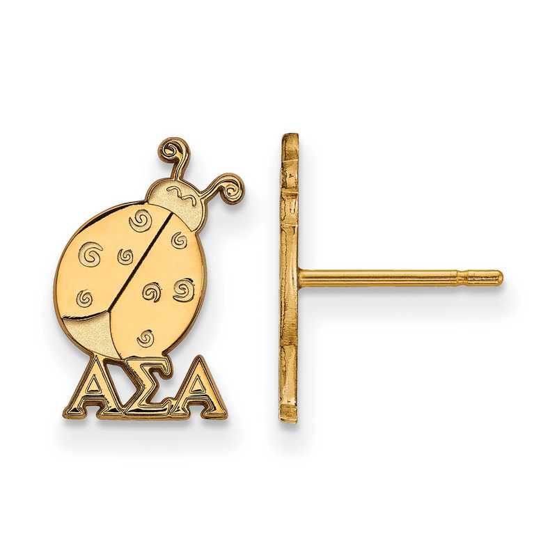 GP038ASI: Strlng Slvr with Gold Plating LogoArt Alpha Sigma Alpha XS Post Erring