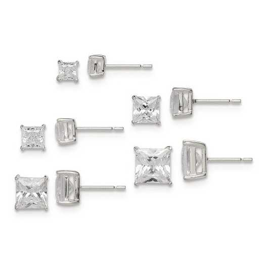 QE12187SET: Sterling Silver Polished White CZ Post Set Earrings