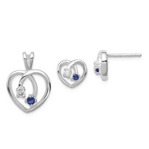 QE12SET: Sterling Silver Blue & Clear CZ Heart Earring & Pendant Set