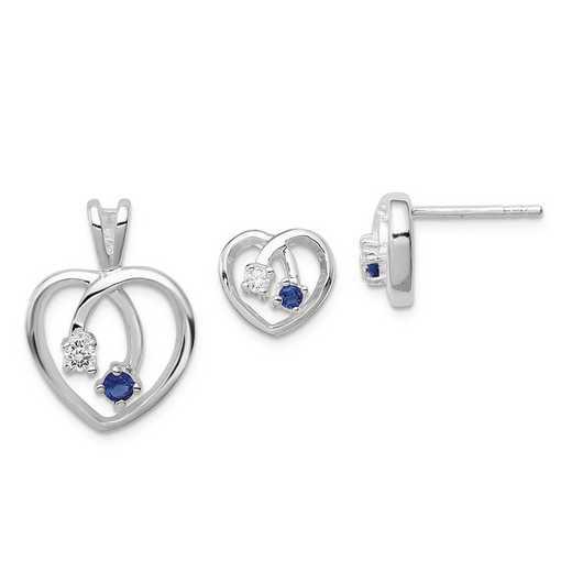 QE12SET: Sterling Silver Blue & Clear CZ Heart Earring & Pendant Set