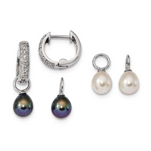 QE13838SET: Sterling Silver 7-8mm Wt/Blk FWC Pearl CZ Changeable Earring