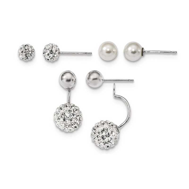 QE13850SET: Sterling Silver Set of 3 MOP/Crystal Front Back Earrings