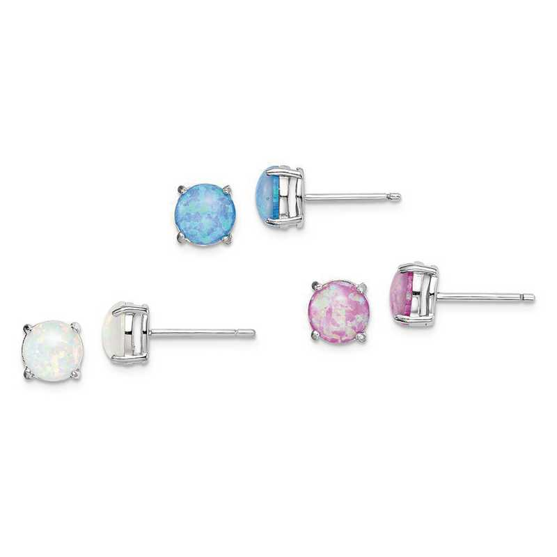 QE15432SET: SS Pink - White - & Blue Created Opal Stud 3 Set of Earring